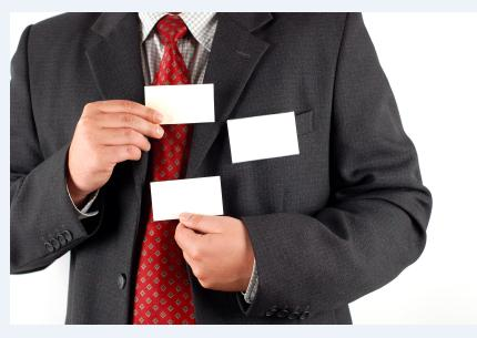Man exchanging business cards