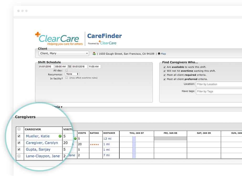 Scheduling caregivers